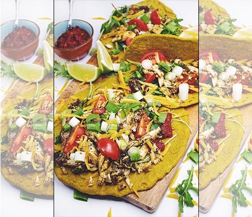 Тортила с куркума, с пълнеж от пъстърва и свежи зеленчуци, от Polka dot kitchen